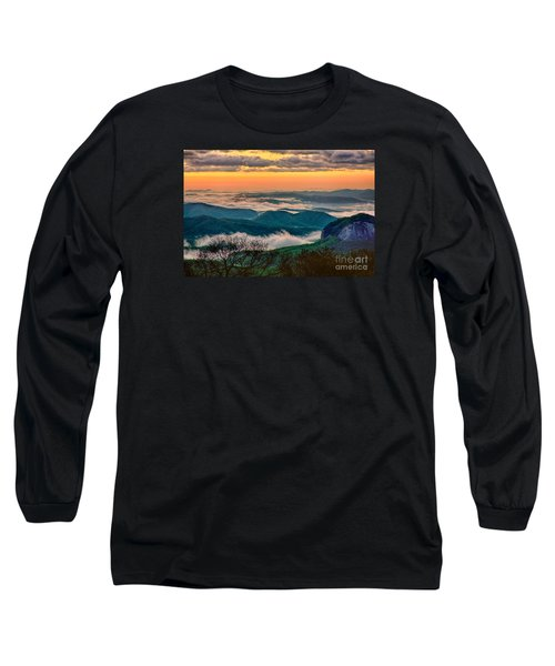 Looking Glass In The Blue Ridge At Sunrise Long Sleeve T-Shirt by Dan Carmichael