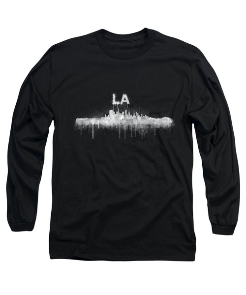 Los Angeles City Skyline Hq V5 Wb Long Sleeve T-Shirt by HQ Photo