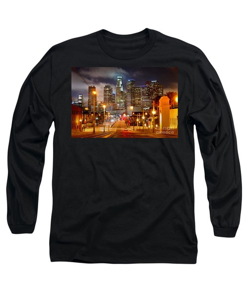 Los Angeles Skyline Night From The East Long Sleeve T-Shirt by Jon Holiday