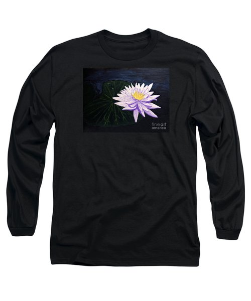 Long Sleeve T-Shirt featuring the painting Lotus Blossom At Night by Patricia Griffin Brett