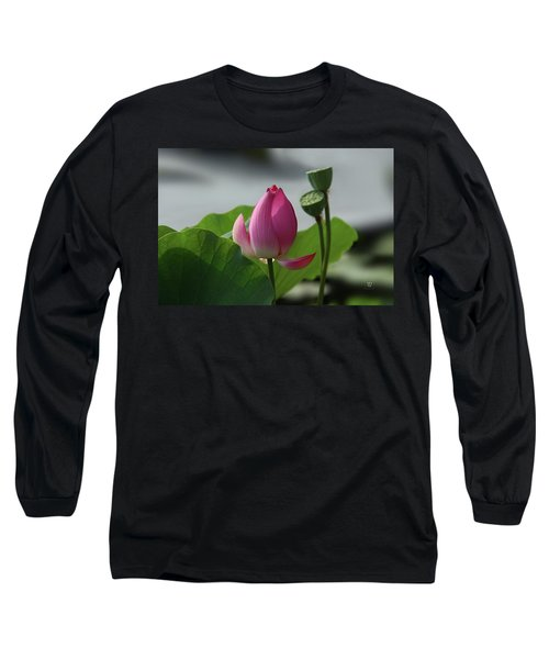 Lotus Flower In Pure Magenta Long Sleeve T-Shirt by Yvonne Wright
