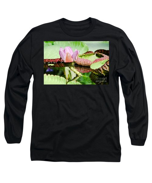 Lotus Flower In Water Long Sleeve T-Shirt by Yurix Sardinelly