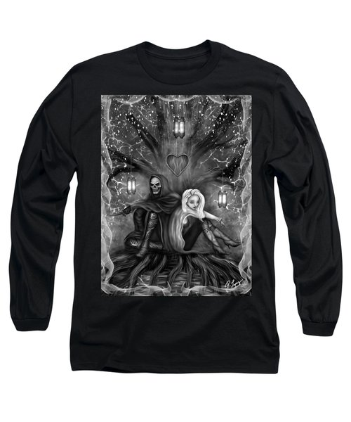 Long Sleeve T-Shirt featuring the painting Love Is Complicated - Black And White Fantasy Art by Raphael Lopez