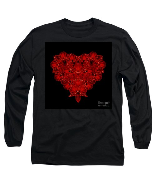 Love Red Floral Heart Long Sleeve T-Shirt