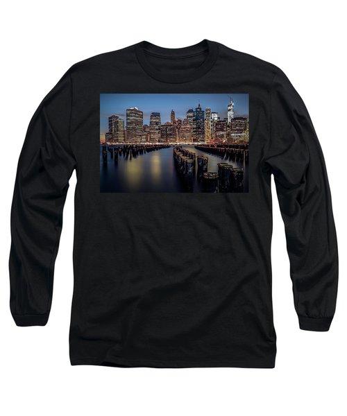 Lower Manhattan Skyline Long Sleeve T-Shirt by Eduard Moldoveanu