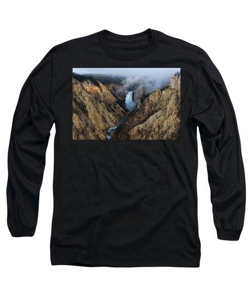 Lower Yellowstone Falls Sunrise Long Sleeve T-Shirt