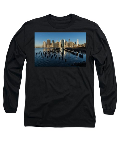 Luminous Blue Silver And Gold - Manhattan Skyline And East River Long Sleeve T-Shirt