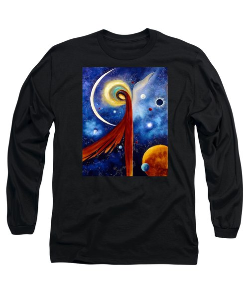 Long Sleeve T-Shirt featuring the painting Lunar Angel by Marina Petro