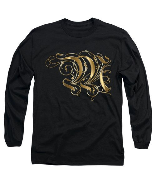 M Golden Ornamental Letter Typography Long Sleeve T-Shirt by Georgeta Blanaru