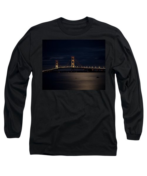 Mackinac Bridge At Night Long Sleeve T-Shirt