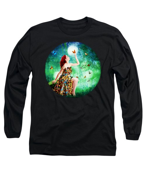 Madam Butterfly Long Sleeve T-Shirt by Linda Lees