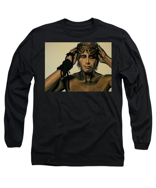 Mads Mikkelsen Painting Long Sleeve T-Shirt by Paul Meijering