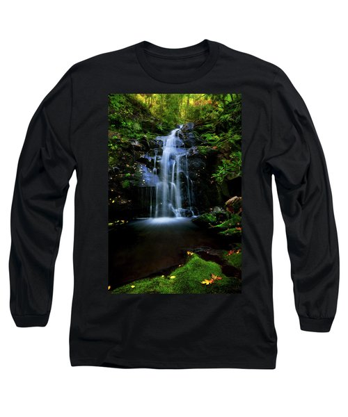 Magical Waterfall Above Spruce Falls In Tremont Smoky Mountains Tennessee  Long Sleeve T-Shirt