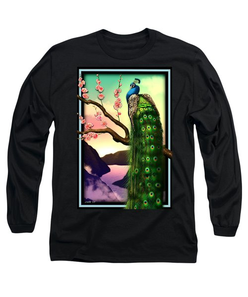 Magnificent Peacock On Plum Tree In Blossom Long Sleeve T-Shirt