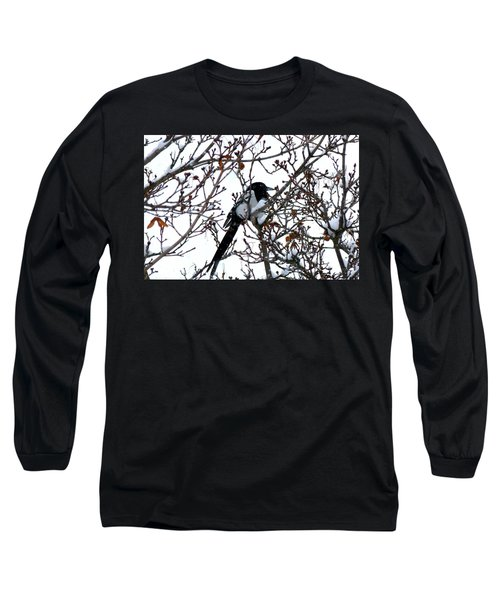 Magpie In A Snowstorm Long Sleeve T-Shirt by Will Borden