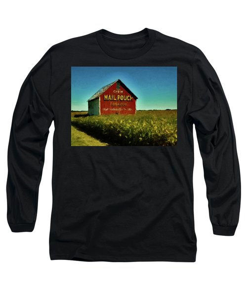 Long Sleeve T-Shirt featuring the painting Mail Pouch Barn P D P by David Dehner