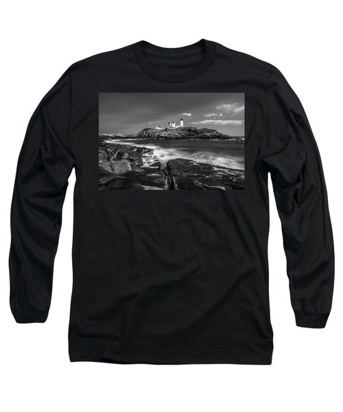 Long Sleeve T-Shirt featuring the photograph Maine Cape Neddick Lighthouse In Bw by Ranjay Mitra