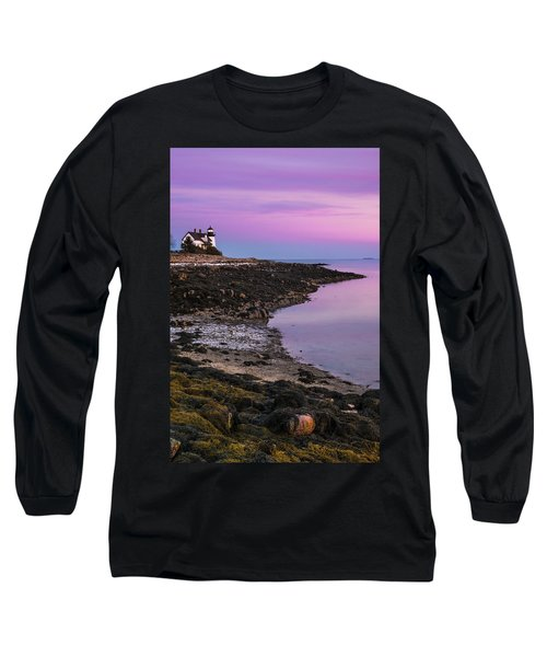 Long Sleeve T-Shirt featuring the photograph Maine Prospect Harbor Lighthouse Sunset In Winter by Ranjay Mitra