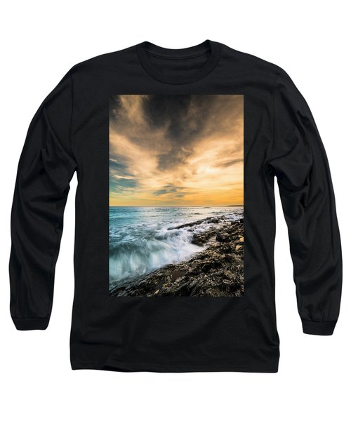 Long Sleeve T-Shirt featuring the photograph Maine Rocky Coastal Sunset by Ranjay Mitra