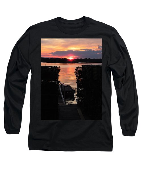 Maine Sunset And Traps Long Sleeve T-Shirt