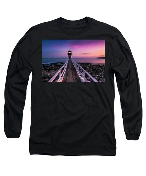Maine Sunset At Marshall Point Lighthouse Long Sleeve T-Shirt by Ranjay Mitra