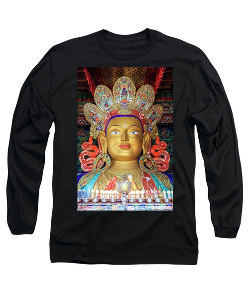 Long Sleeve T-Shirt featuring the photograph Maitreya Buddha Statue by Alexey Stiop