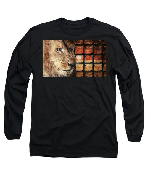 Majestic Lion In Captivity Long Sleeve T-Shirt by Anton Kalinichev