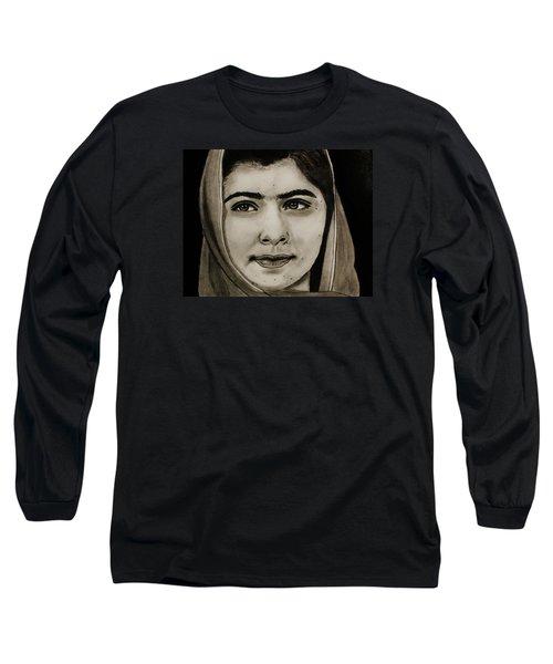 Long Sleeve T-Shirt featuring the drawing Malala Yousafzai- Teen Hero by Michael Cross