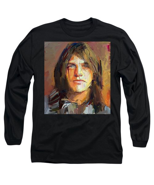 Malcolm Young Acdc Tribute Portrait Long Sleeve T-Shirt