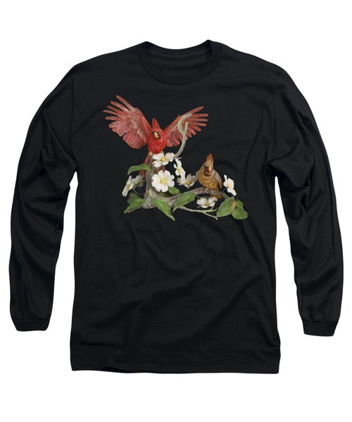 Male And Female Cardinals  Long Sleeve T-Shirt by Walter Colvin