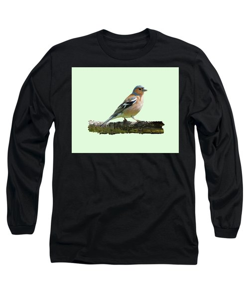Male Chaffinch, Green Background Long Sleeve T-Shirt by Paul Gulliver