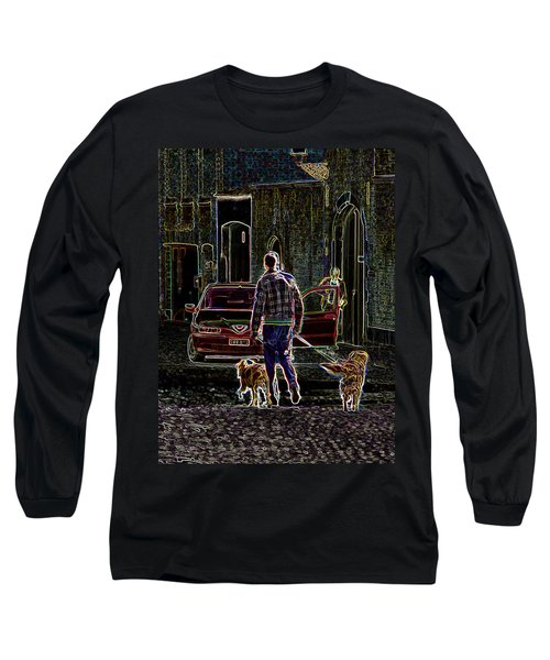 Long Sleeve T-Shirt featuring the photograph Man And Best Friends by Rhonda McDougall