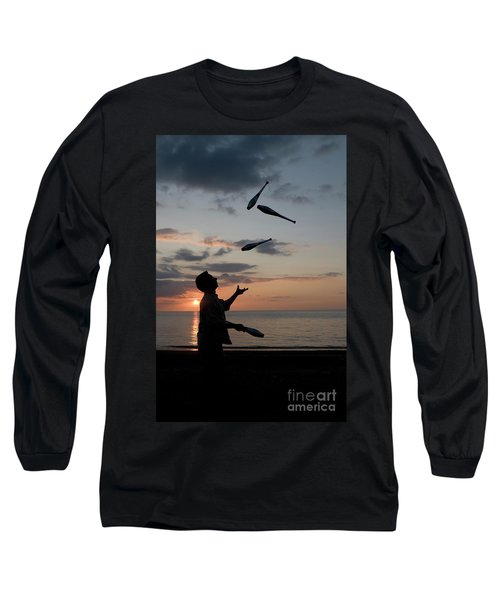 Man Juggling With Four Clubs At Sunset Long Sleeve T-Shirt