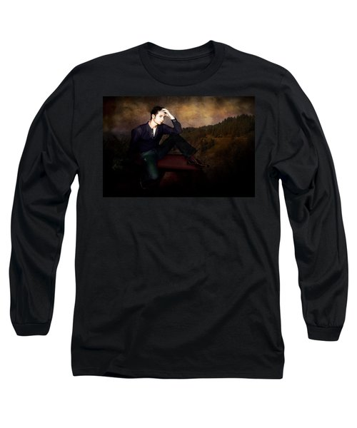 Man On A Bench Long Sleeve T-Shirt by Jeff Burgess