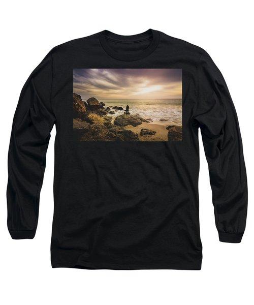 Man Watching Sunset In Malibu Long Sleeve T-Shirt