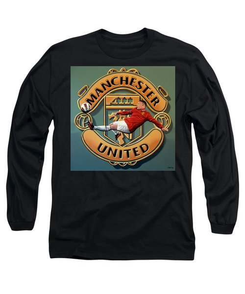 Manchester United Painting Long Sleeve T-Shirt by Paul Meijering