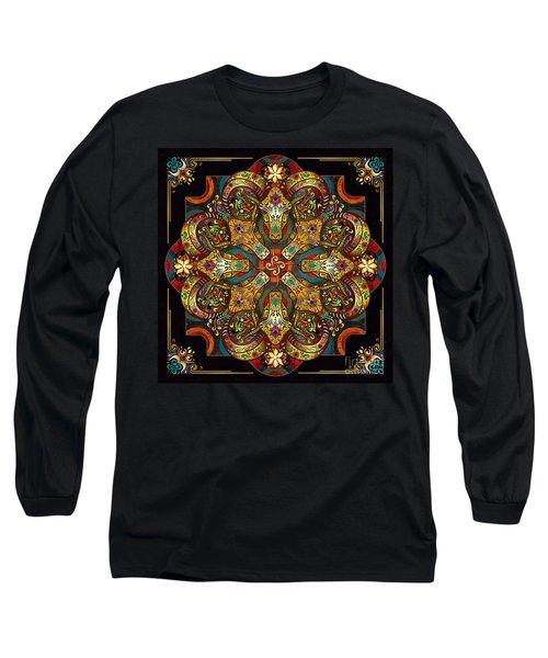 Mandala Sacred Rams - Dark Version Long Sleeve T-Shirt