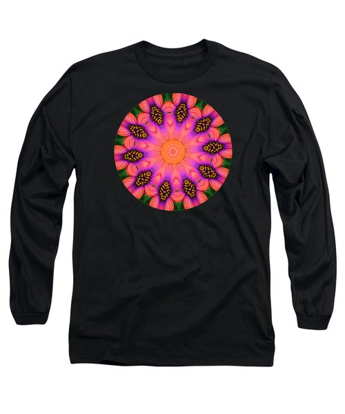 Mandala Salmon Burst Long Sleeve T-Shirt by Hao Aiken