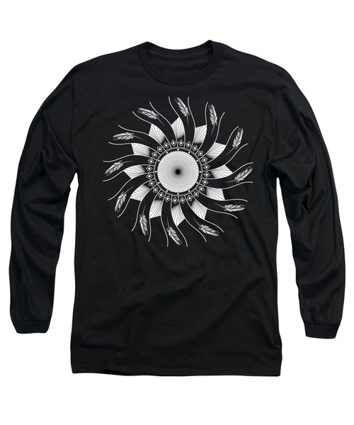 Long Sleeve T-Shirt featuring the digital art Mandala White And Black by Linda Lees