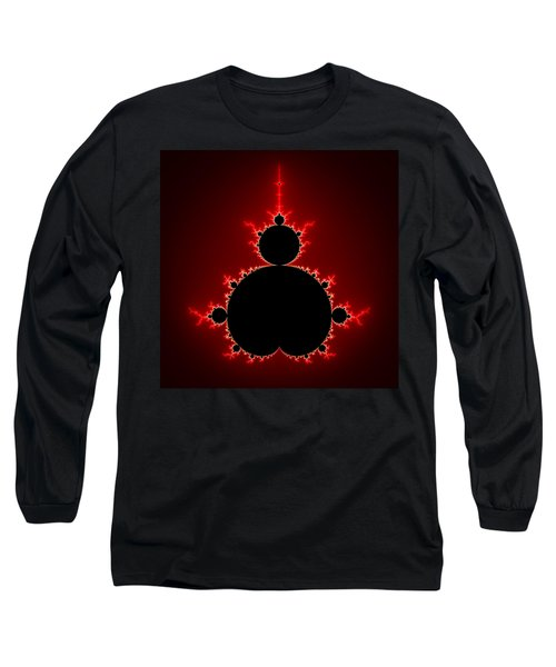 Mandelbrot Set Black And Red Square Format Long Sleeve T-Shirt