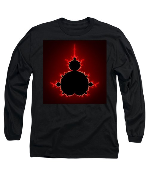 Mandelbrot Set Black And Red Square Format Long Sleeve T-Shirt