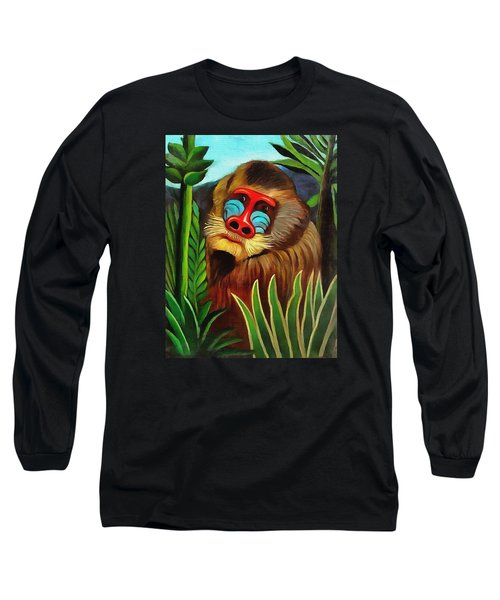 Mandrill In The Jungle Long Sleeve T-Shirt by Henri Rousseau