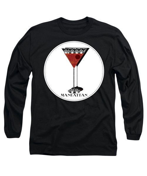 Manhattan Cocktail Pop Art Deco Long Sleeve T-Shirt by Cecely Bloom