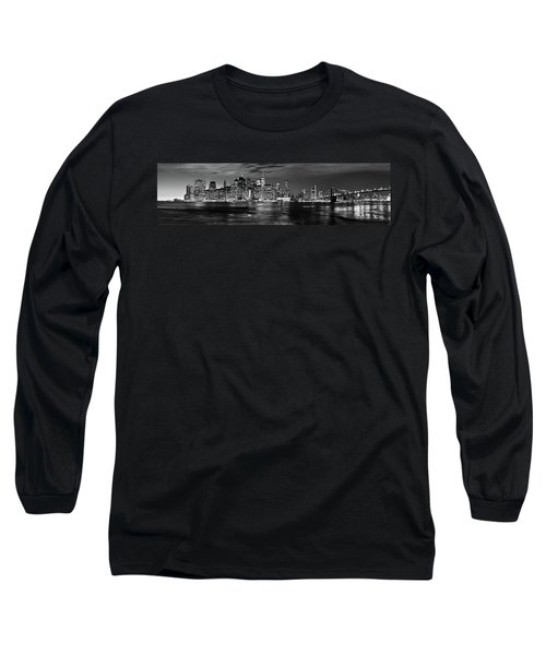 Manhattan Skyline At Dusk From Broklyn Bridge Park In Black And  Long Sleeve T-Shirt