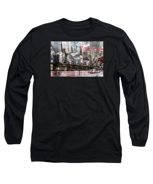 Long Sleeve T-Shirt featuring the photograph Manhatten From Above by Hannes Cmarits