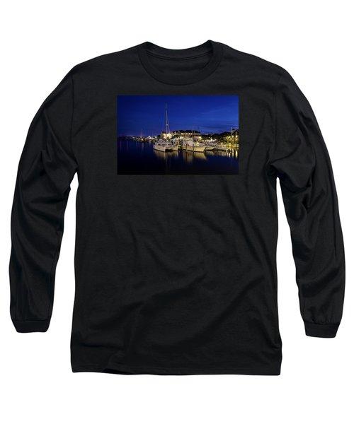 Manteo Waterfront Marina At Night Long Sleeve T-Shirt