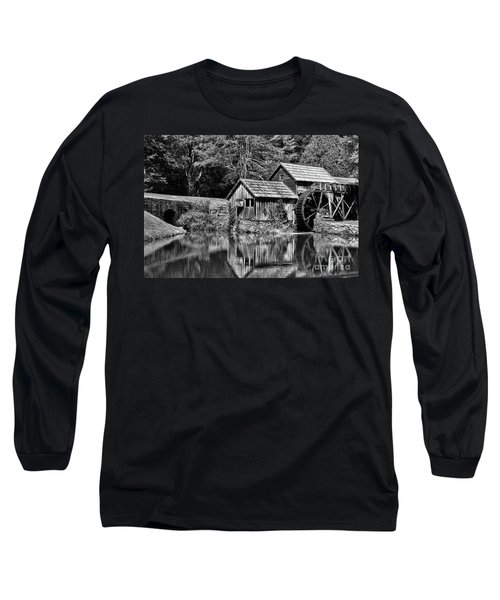 Marby Mill In Black And White Long Sleeve T-Shirt by Paul Ward