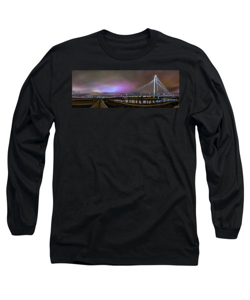Margaret Hunt Hill Bridge - Dallas Texas Long Sleeve T-Shirt by Micah Goff