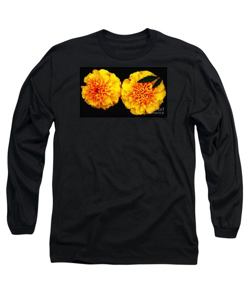 Long Sleeve T-Shirt featuring the photograph Marigolds With Oil Painting Effect by Rose Santuci-Sofranko