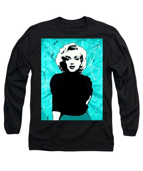 Marilyn Monroe Blue Green Aqua Tint Long Sleeve T-Shirt